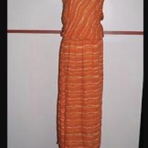 Striped orange Nine west long dress
